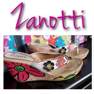 ZANOTTI Colorful Floral Slip On Wedges